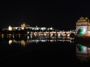 Charles Bridge and Prague Castle at Night ©MrsEnginerd