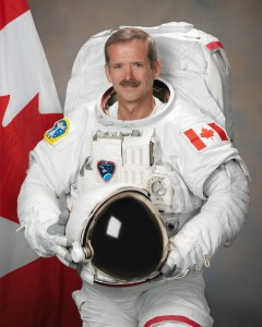 Photograph official portrait of Canadian Astronaut Chris Hadfield in EMU suit.  Photo Date: July 19, 2011.  Location: Building 8, Room 183 - Photo Studio.  Photographer: Robert Markowitz